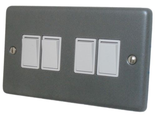 G&H CP4W Standard Plate Pewter 4 Gang 1 or 2 Way Rocker Light Switch